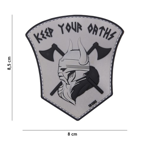 PATCH 3D PVC KEEP OUR OATHS GREY