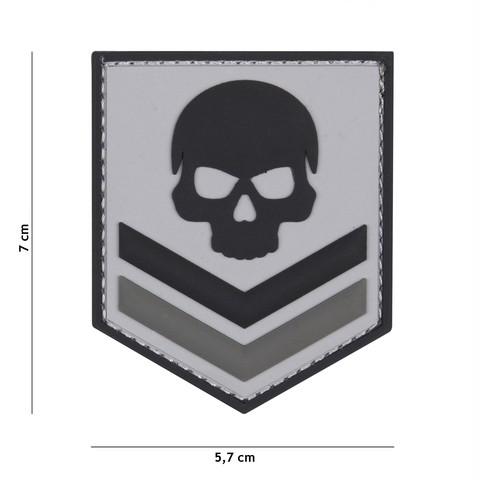 Patch 3D PVC Belgium skull grey