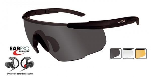 Saber Advanced Set 3 Gläser & Hörschutz matt schwarz