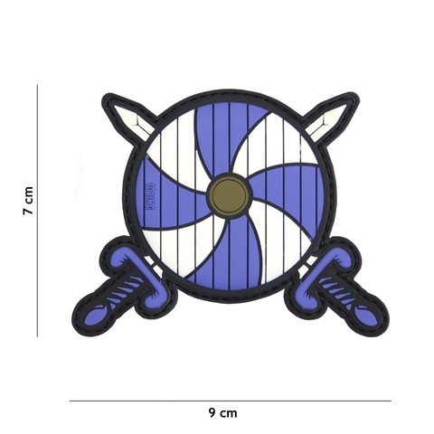 Patch 3D PVC Viking shield + 2 swords blue