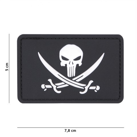 Patch 3D PVC Punisher pirate black