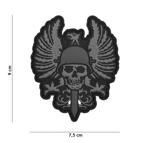 Patch 3D PVC Spanish skull grey