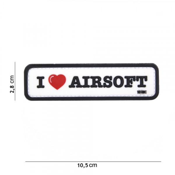 Patch I love Airsoft white