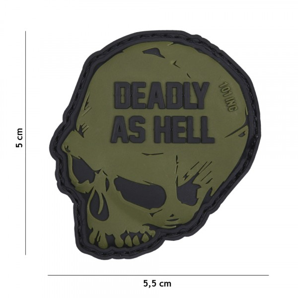 Patch 3D PVC Deadly as hell green