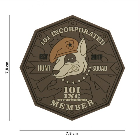 Patch 3D PVC 101 INC Hunt Squad brown