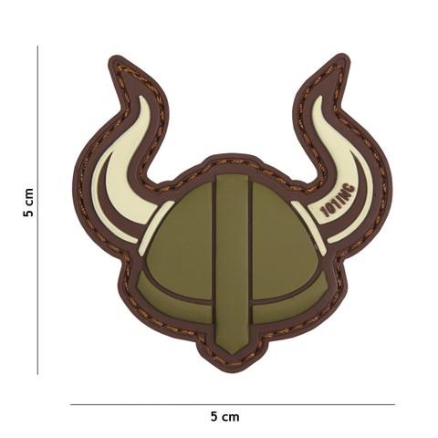 Patch 3D PVC Viking helmet green/brown