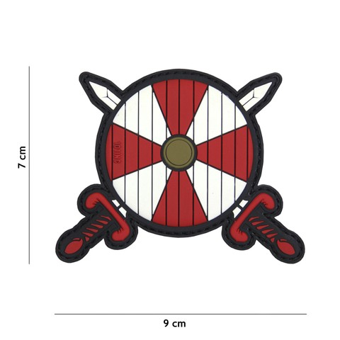 Patch 3D PVC Viking shield + 2 swords red/white