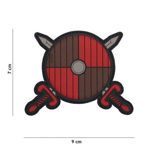 Patch 3D PVC Viking shield + 2 swords red/brown
