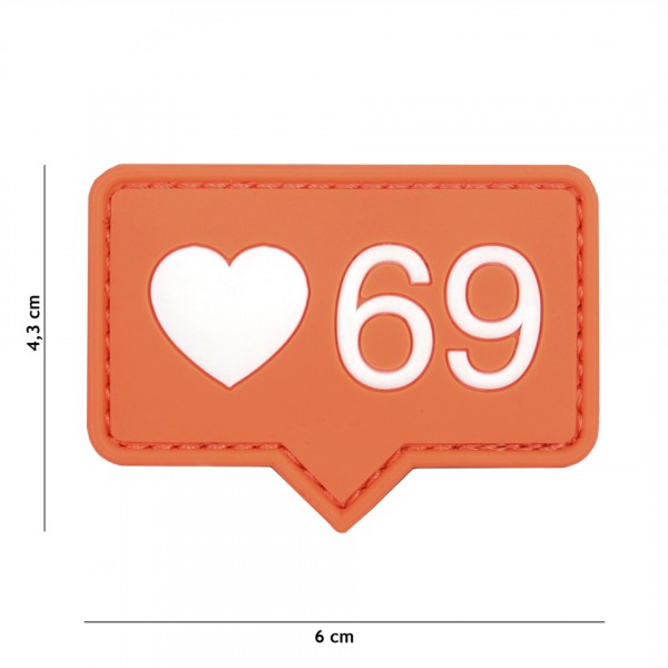 Patch 3D PVC Love 69 orange