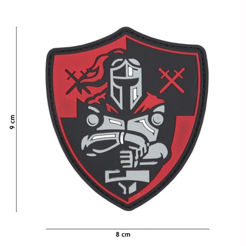 Patch 3D PVC Knight shield red