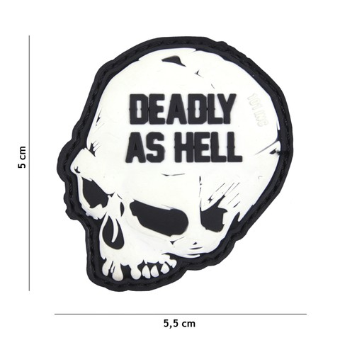 Patch 3D PVC Deadly as hell white