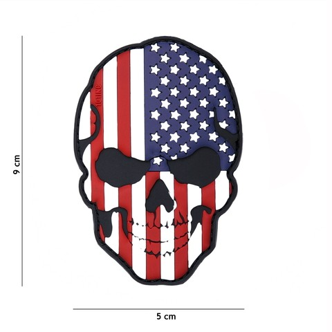 Patch 3D PVC skull USA