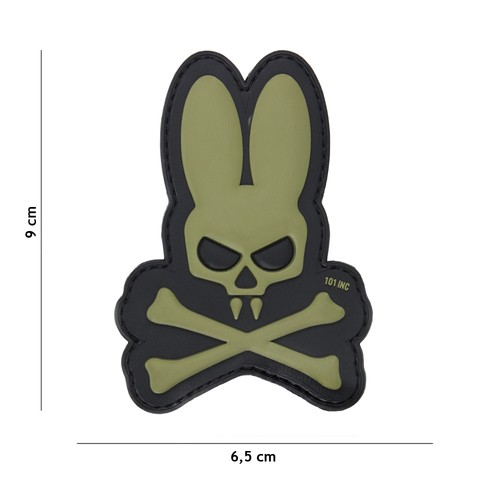 Patch 3D PVC Skull bunny green