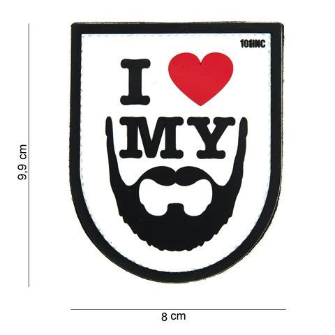 Patch 3D PVC I love my beard white