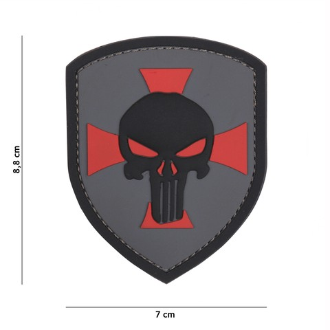 Patch 3D PVC Shield Punisher cross grey