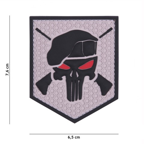 Patch 3D PVC Commando Punisher grey