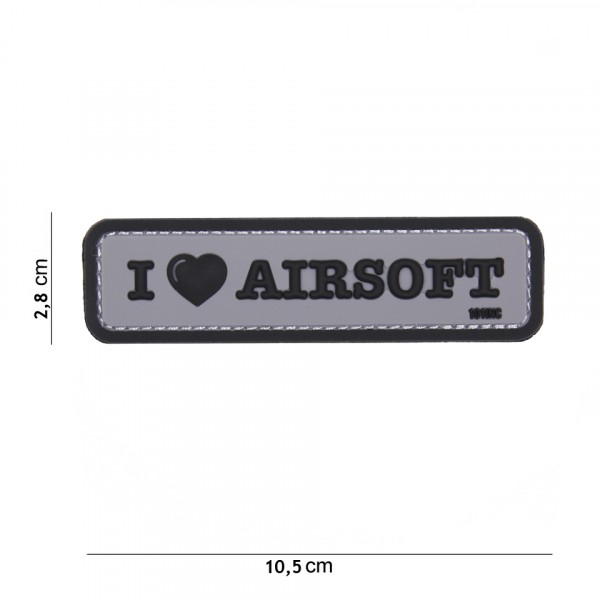 Patch I love Airsoft grey