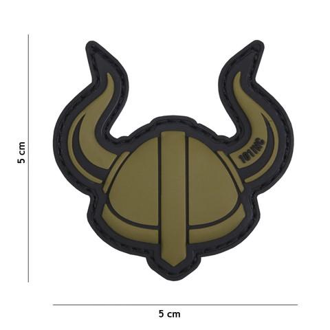 Patch 3D PVC Viking helmet green