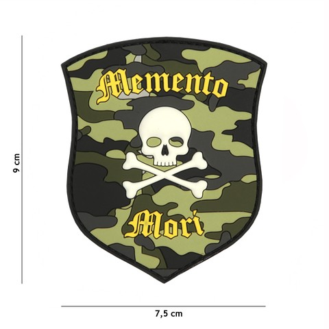 PATCH 3D PVC MEMENTO MORI SHIELD SKULL CAMO