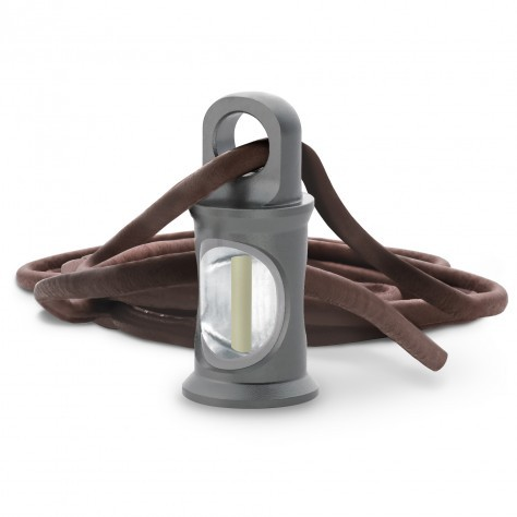 TRIGATAG® Grau mit Lederkette braun