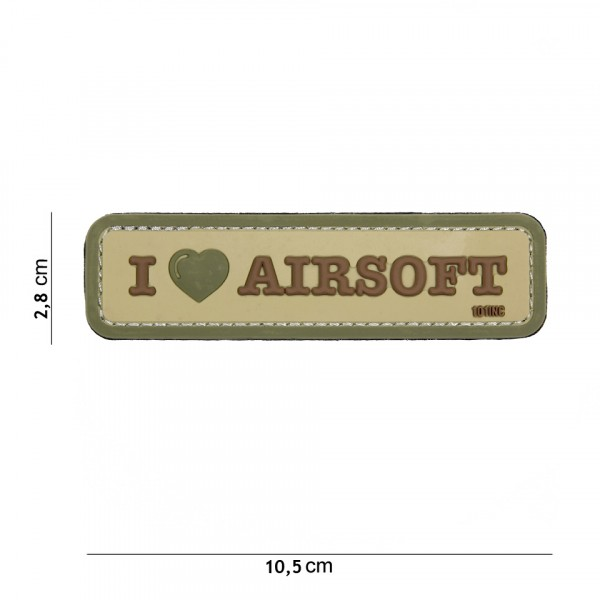 Patch 3D PVC I love Airsoft coyote