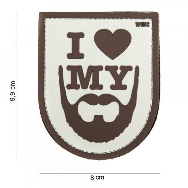 Patch 3D PVC I love my beard brown