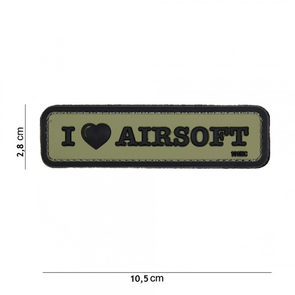Patch I LOVE AIRSOFT GREEN