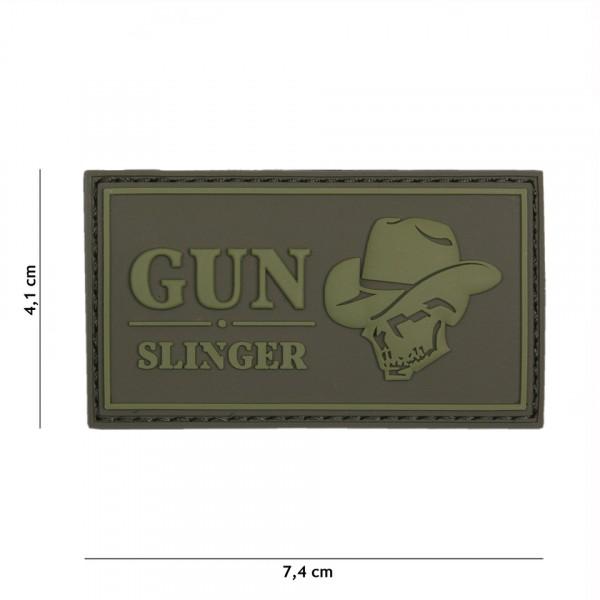 Patch 3D PVC Gun slinger skull cowboy green