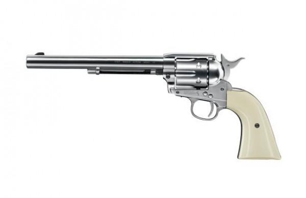 """Colt SAA .45-7.5"""" cal. 4,5 mm (.177) BB - nickel mit weißem Griff"""