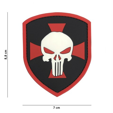 Patch 3D PVC Shield Punisher cross red