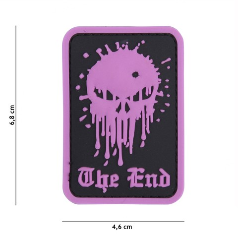 PATCH 3D PVC SKULL THE END PINK