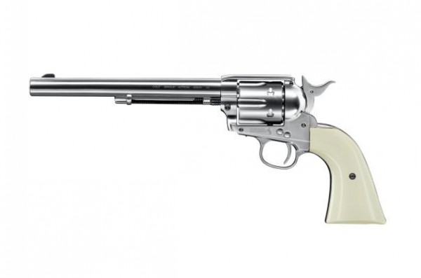 """Colt SAA .45-7.5"""" cal. 4,5 mm (.177) Diabolo - nickel mit weißem Griff"""